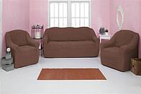Чехол на диван и 2 кресла без оборки Venera 07-202 Серо-Коричневый