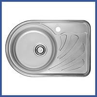 Мойка для кухни из нержавейки ULA 7111 L Satin (ULA7111SAT08L) овальная врезная с крылом маленькая
