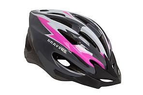 Шлем велосипедный Bravvos HEL128черно-бело-розовый (M, 54-57см)
