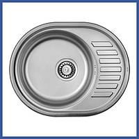 Мойка для кухни из нержавейки ULA 7112 U Micro Decor (ULA7112DEC08) овальная врезная с крылом маленькая
