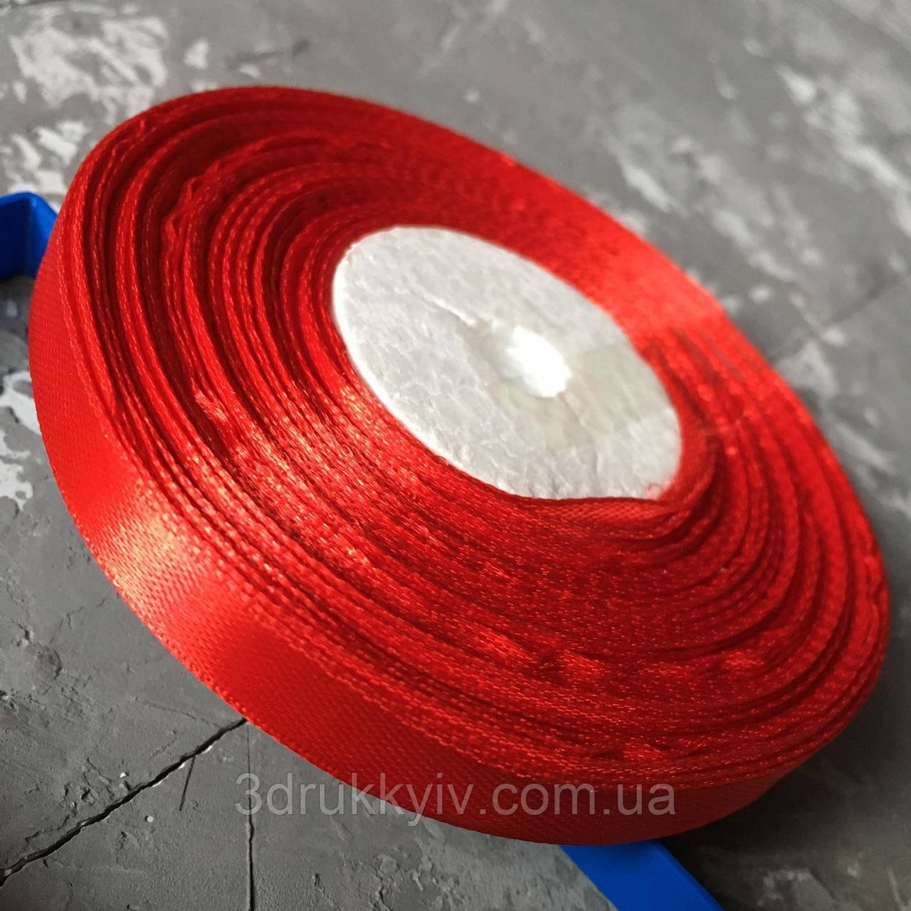 Стрічка атласна червона 0,9 см. / Лента атласная красная
