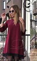 Нарядное платье трапеция ассиметричное с кружевом большие размеры бордовое