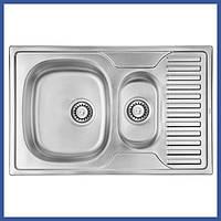 Прямоугольная кухонная мойка ULA 7301 Satin с доп чашей (ULA7301SAT08) из нержавеющей стали
