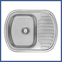 Мойка для кухни из нержавейки ULA 7704 U Satin (ULA7704SAT08) овальная врезная с крылом