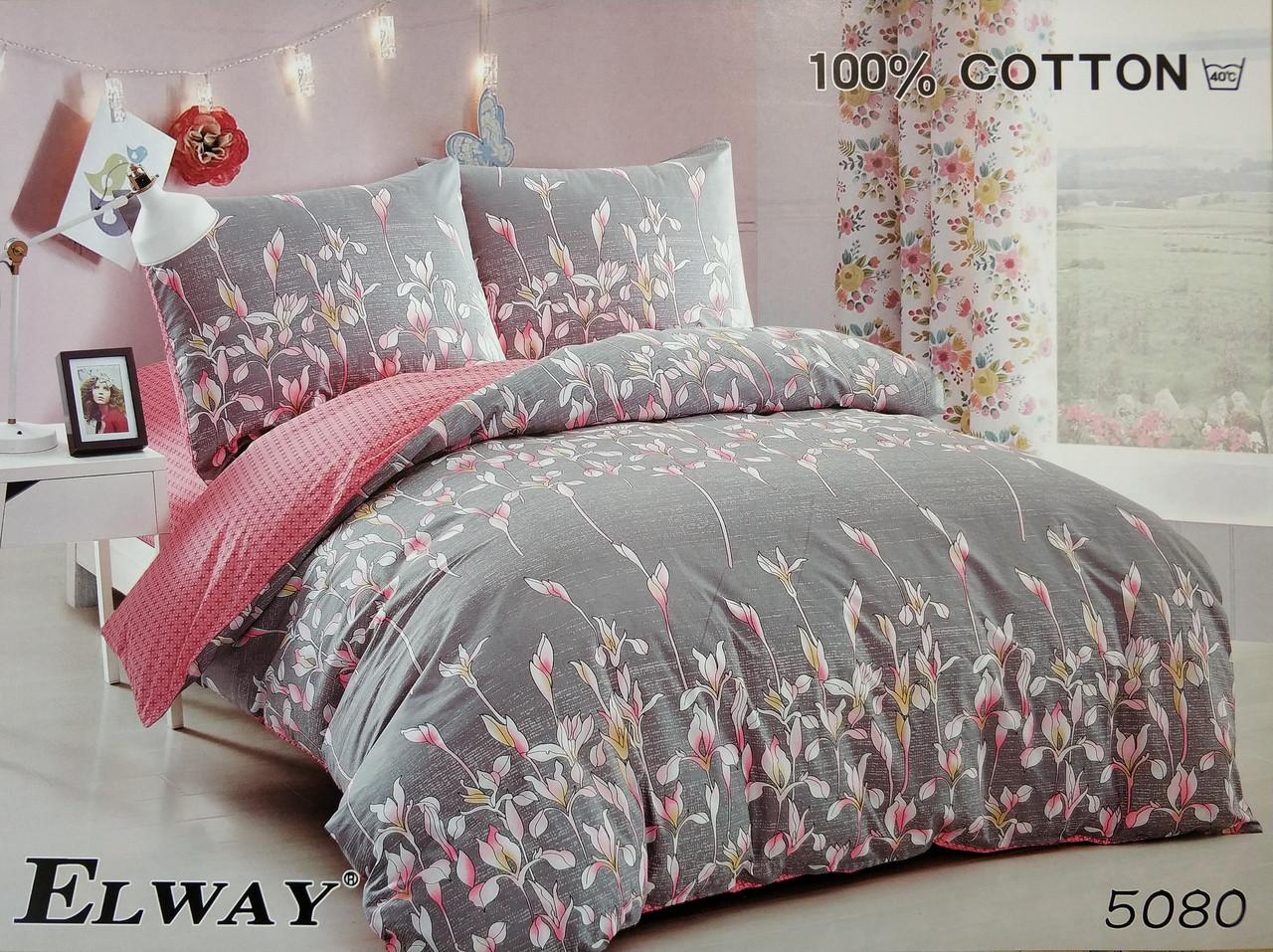 Сатиновое постельное белье семейное ELWAY 5080 «Цветы»