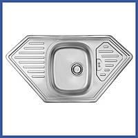 Мойка для кухни из нержавейки ULA 7801 Satin (ULA7801SAT08) трапеция врезная с крылом
