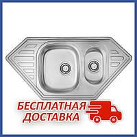 Трапециевидная кухонная мойка двойная ULA 7802 Micro Decor из нержавеющей стали