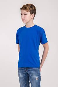 Дитяча однотонна футболка вільного крою (електрик)