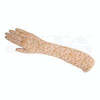 """Бежевые длинные гипюровые перчатки """"Розочки"""""""