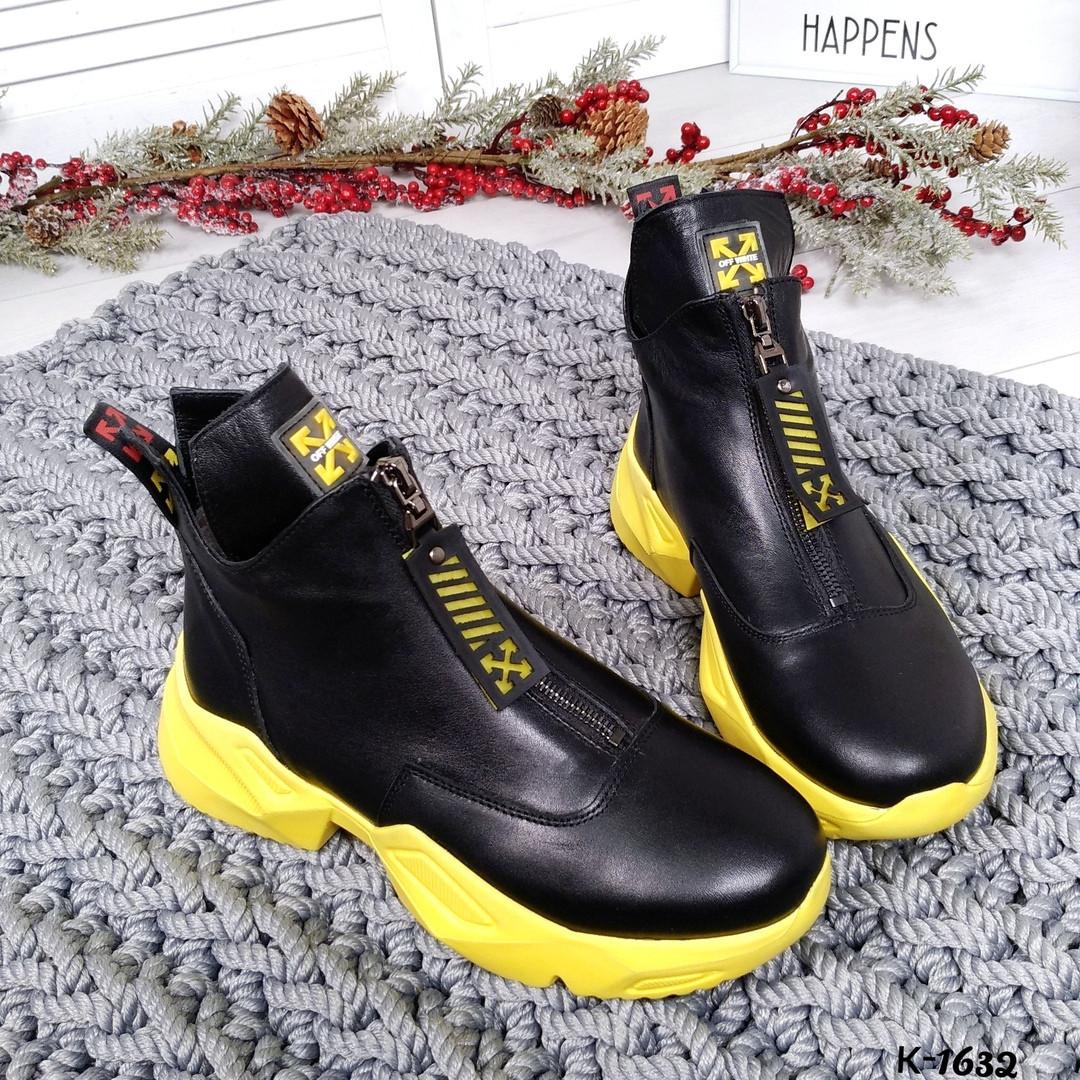 Женские зимние ботинки в черном цвете, из натуральной кожи 36 ПОСЛЕДНИЙ РАЗМЕР