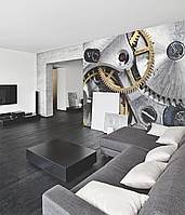 Дизайнерское панно Hi Tech Clockwork в интерьере гостиной 250 см х 155 см
