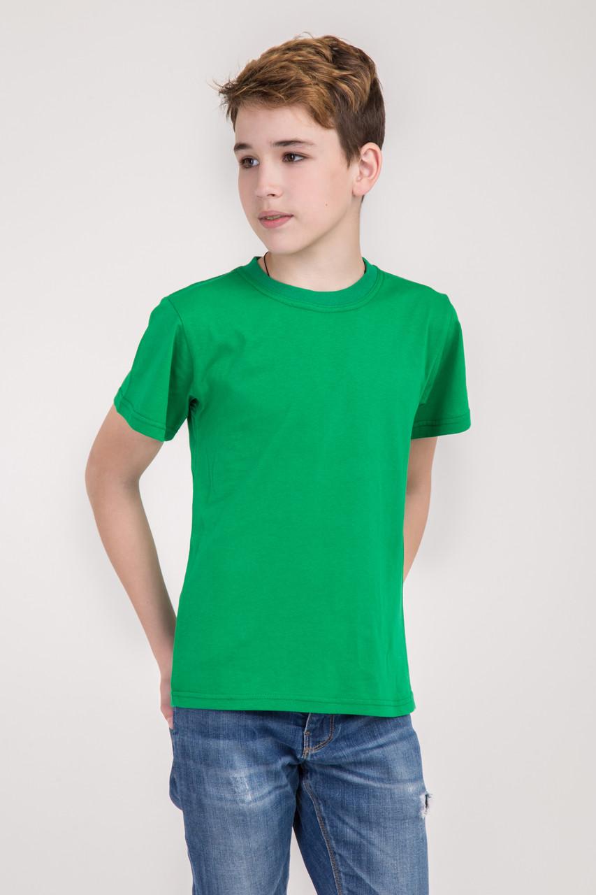 Дитяча однотонна футболка вільного крою (зеленого кольору)