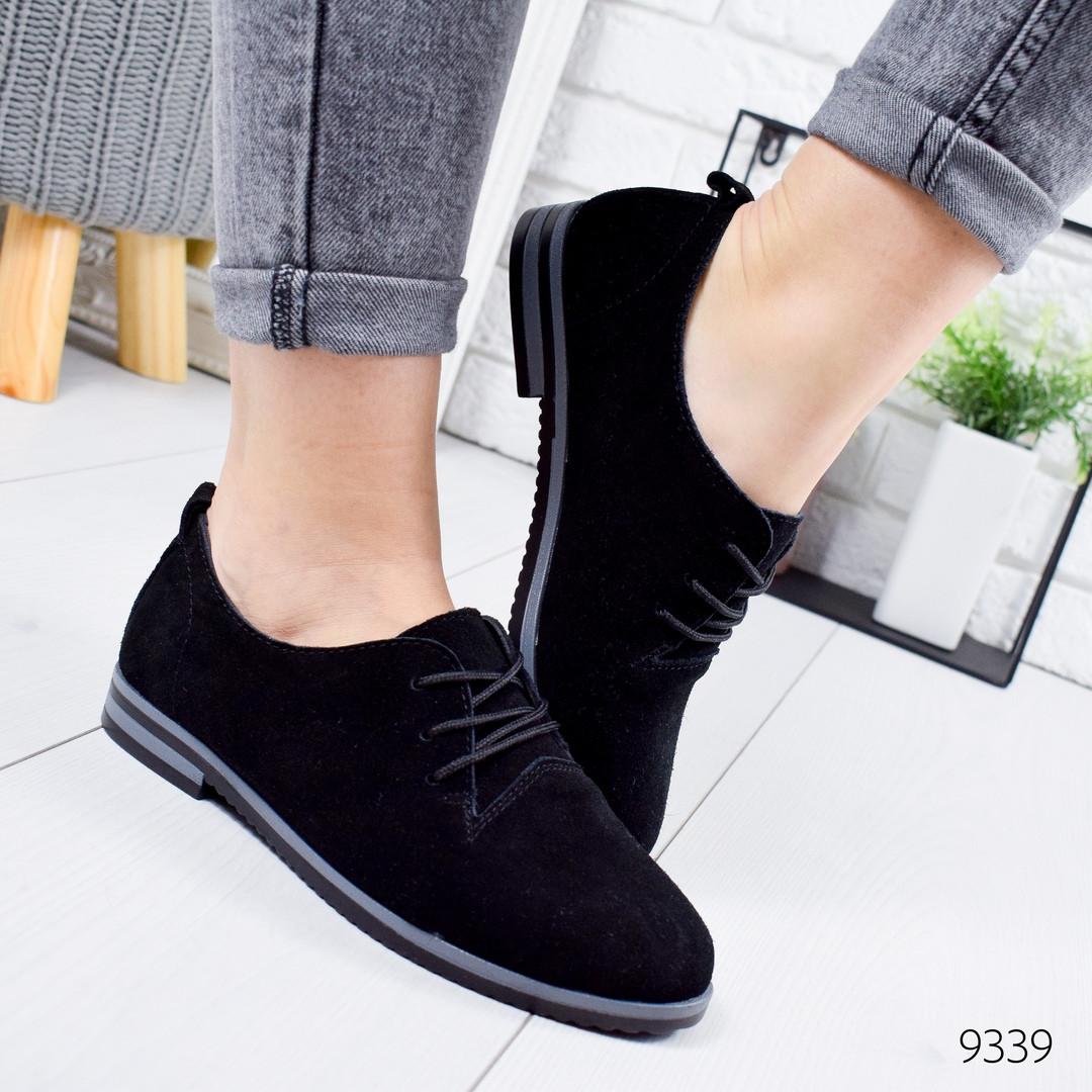 Туфли оксфорды женские черные натуральные замшевые на шнурках
