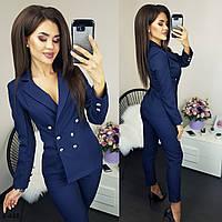 Женский модный брючный костюм жакет+брюки С, М +большие размеры