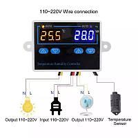 Двойной цифровой регулятор температуры и влажности, , термостат, гигростат, термометр.
