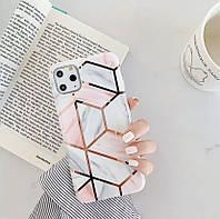 Чехол на Айфон XR, iPhone XR, Геометрия розовая