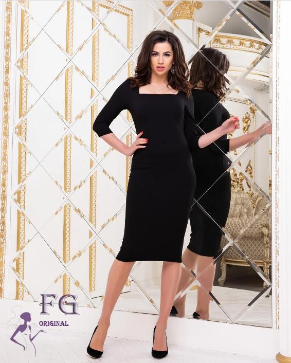 Черное деловое облегающее платье миди с квадратным декольте