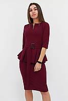 S (42-44) / Класичне жіноче плаття з баскою Venera, марсала S (42-44)