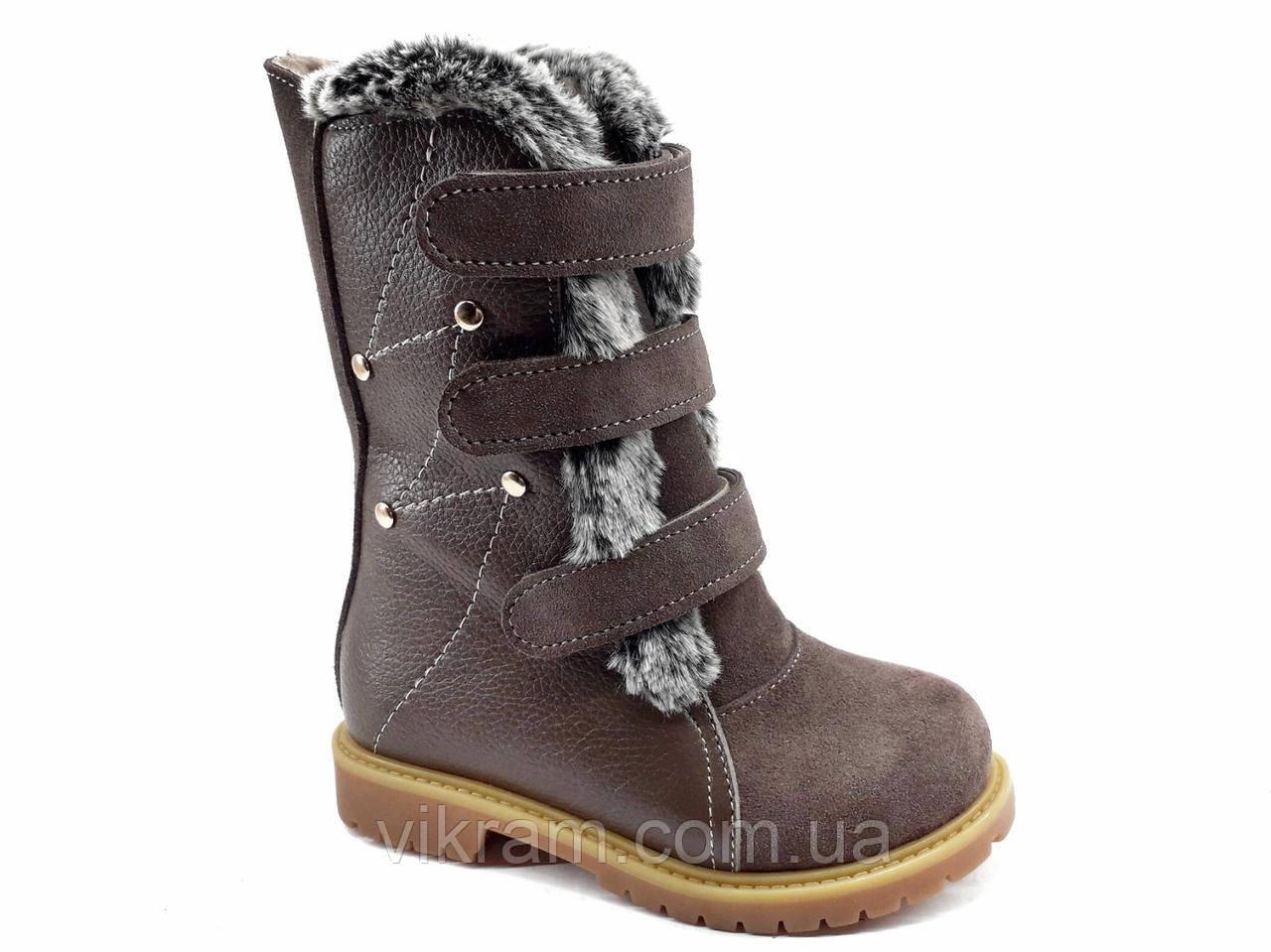 Кожаные ортопедические зимние ботинки СНЕЖКА коричневые