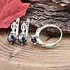 Серебряный набор с золотом Ш635 кольцо размер 17 + серьги 18х10 мм вставка чёрные фианиты, фото 4