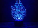 """3D светильник ночник """"Сокол тысячелетия"""" 3DTOYSLAMP, фото 2"""