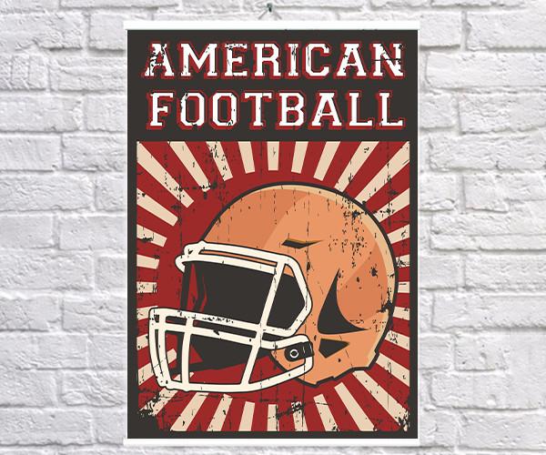 Постер BEGEMOT Ретро Американский футбол 40x61 см (1120113)
