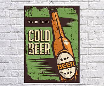 Постер BEGEMOT Ретро Холодное пиво 40x61 см (1120124)