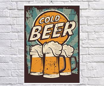 Постер BEGEMOT Ретро Холодное пиво 40x61 см (1120125)