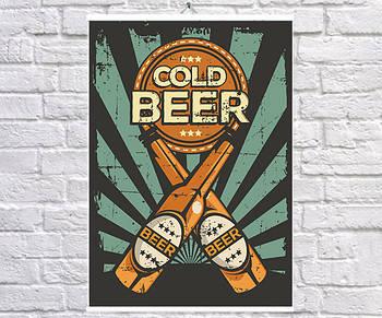 Постер BEGEMOT Ретро Холодное пиво 40x61 см (1120126)