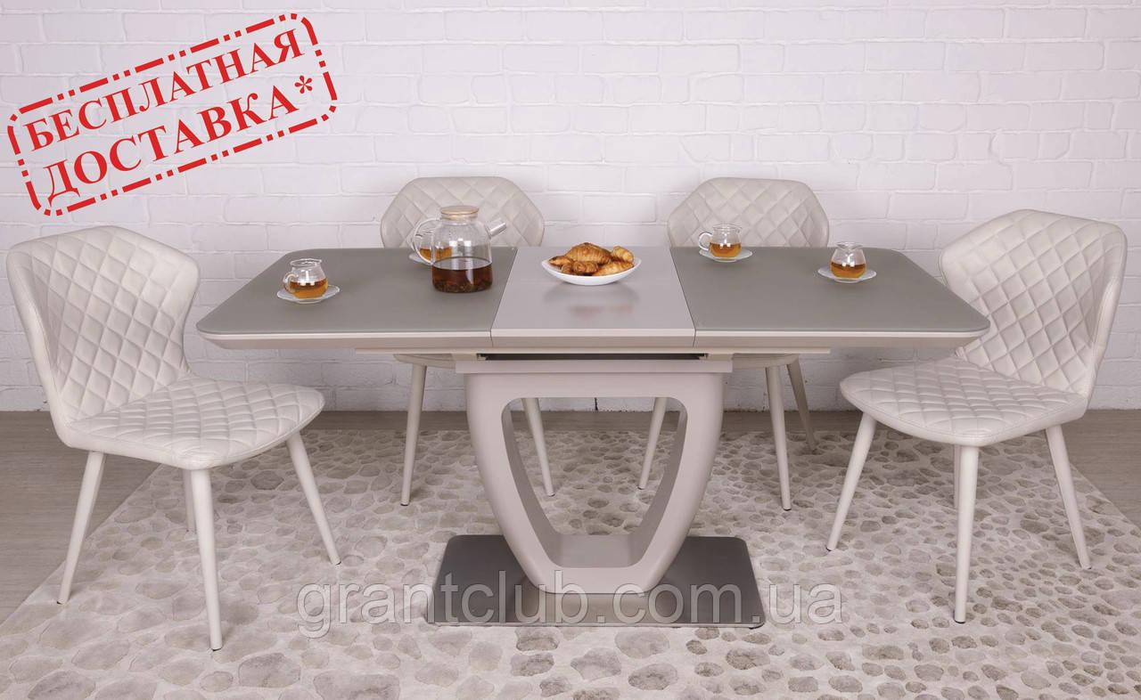 Стол обеденный TORONTO 120/160х80 стекло капучино Nicolas (бесплатная доставка)