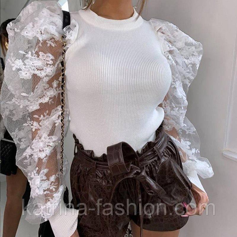 Жіночий джемпер (кофтока) з гипюровыми рукавами, які тримають форму (2 кольори)