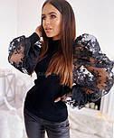 Жіночий джемпер (кофтока) з гипюровыми рукавами, які тримають форму (2 кольори), фото 6