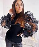 Жіночий джемпер (кофтока) з гипюровыми рукавами, які тримають форму (2 кольори), фото 9