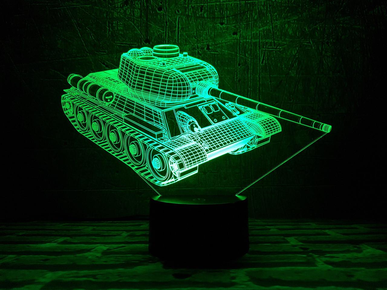 """3D светильник ночник """"Танк"""""""