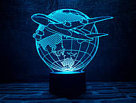 """3D светильник ночник """"Самолет 3""""  3DTOYSLAMP"""