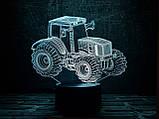 """3D светильник ночник """"Трактор"""", фото 2"""