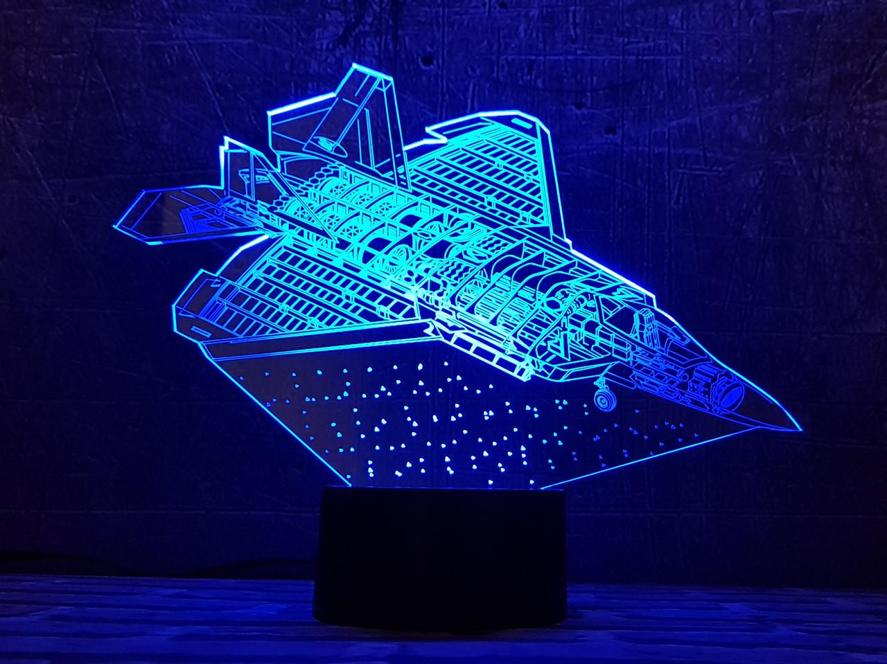 """3D светильник ночник """"Самолет 6 """" 3DTOYSLAMP"""