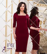 Червоне ошатне облягаюче плаття по коліно з глибоким декольте, фото 3