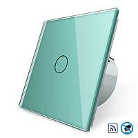 Бесконтактный радиоуправляемый выключатель Livolo зеленый стекло (VL-C701R-PRO-18), фото 1
