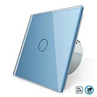 Бесконтактный радиоуправляемый выключатель Livolo голубой стекло (VL-C701R-PRO-19), фото 1