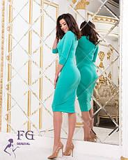 Ошатне плаття-футляр міді з глибоким вирізом м'ятна, фото 2