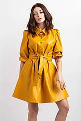 Молодежное  платье рубашка свободного кроя  из эко кожи