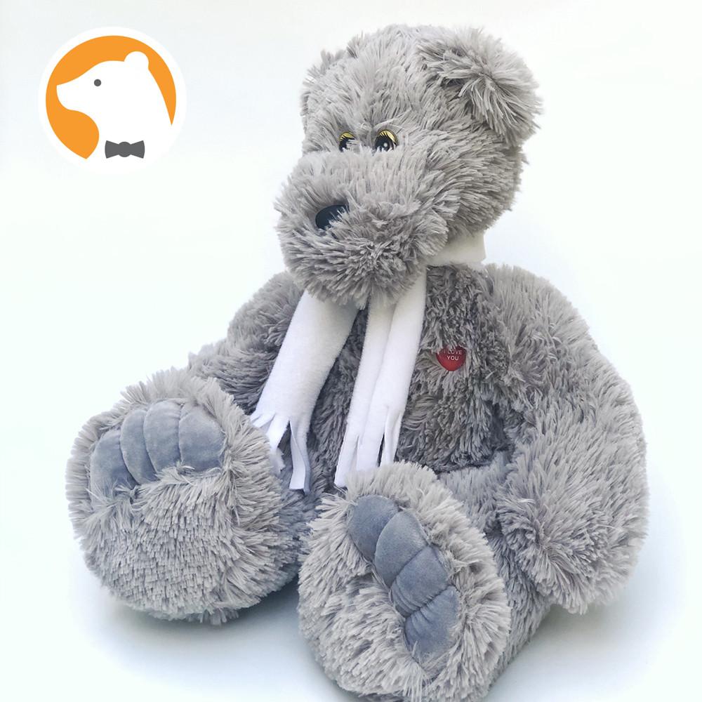 Плюшевый мишка Стив, серый  65 см