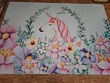 """Безкоштовна доставка! Килим в дитячу """"Єдиноріг у квітах"""" (2*3 м), фото 4"""
