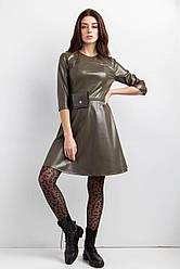 Платье молодёжное трапеция из эко кожи с поясной сумочкой