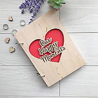 Незвичайний дерев'яний альбом для фото і записів «Our happy moments»
