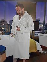Комплект подарочный мужской махровый халат  и домашние тапочки ТМ Maison D`or