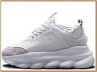 Мужские кроссовки на платформе Versace Chain Reaction White (версаче чейн реакшн, белые)