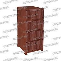 Пластиковый комод с боковыми стенками Rattan шоколадный Elif Wicker 301-1