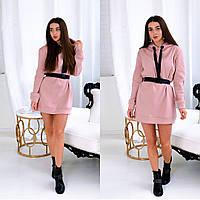 Теплое платье-свитшот с капюшоном/ Женские пудровые худи 2020/ Платье толстовка с капюшоном
